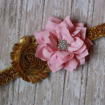 BABY HEADBAND, pink and gold, first birthday, glitter, baby girl, newborn, photo,monaco , duchess, flower, rhinestone,ooak, boutique