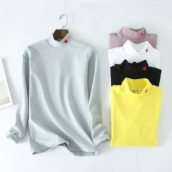 New 100% Cotton Fashion Heart Embroidery Tee Women Autumn Winter Thick Basic tshirt Stretch Long Sleeves Turtleneck Tops D105