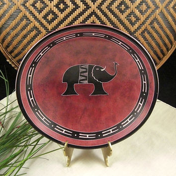 Hand Carved Soapstone Bowl / Red Spongeware Finish / African Kisii / Gift for Dad