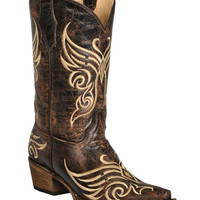 Circle G Distressed Bone Embroidered Cowgirl Boots - Snip Toe - Sheplers