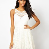 John Zack Skater Dress In Lace With Deep V Back