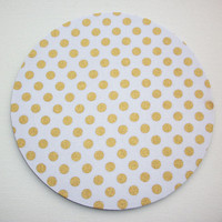 Mouse Pad mousepad / Mat - round - Shiny gold polka dots on white - Computer Accessories Geekery Custom Desk Coworker Gifts Office Gifts