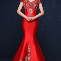 Chinese Wedding Embellished Mermaid Gown