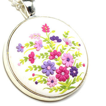 "Floral Pendant Necklace ""Bouquet"" Multicolored Jewelry Polymer Clay Applique Embroidery Feminine Jewelry St. Valentine's Day Gift for Girl"
