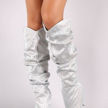 Rhinestone Embellished Pointy Toe Slouchy Cowgirl Boots