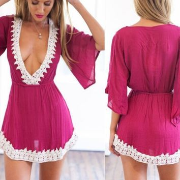 DEEP V-NECK LACE MINI DRESS