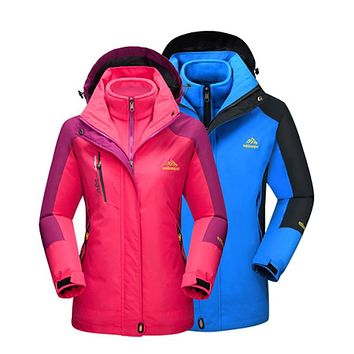 Men Women Winter Inner Fleece Warm 2 Pieces Outdoor Sports Brand Coats Hiking Camping Trekking Skiing Female Jackets