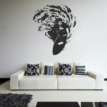 ik1118 Wall Decal Sticker surf board wave ocean Hawaii bedroom