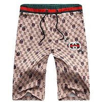 GUCCI summer casual men's shorts fashionable men's embroidered floral pantsuits slim waist trousers