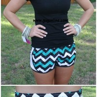 YEAR END SALE Ready For Anything Athletic Shorts in Teal, Black and White Chevron