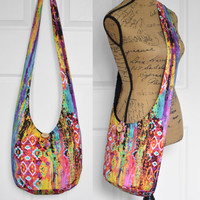 Hobo Bag Hippie Purse Crossbody Bag Sling Bag Hippie Bag Boho Bag Bohemian Purse Hobo Purse Slouchy Bag Aztec Fabric Bag Abstract Gypsy Bag