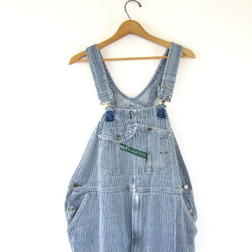 50's Key Imperial Vintage Jean Bib Overalls. distressed Pinstriped Carpenter Engineer Work Pants. men's bibs size 44 x 29