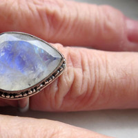 CLEARANCE sterling ice blue rainbow moonstone ring stamped 925 ornate setting September birthstone semiprecious moonstone genuine gemstone