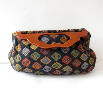 Vintage Wooden Handle Purse. Top handle fabric purse. Craft clutch bag. tapestry handbag.