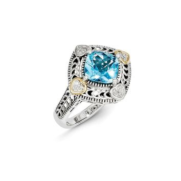 Antique Style Sterling Silver with 14k Gold Diamond & Blue Topaz Ring