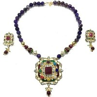 Mogul INDIAN Necklace Jewelry Purple TOURMALINE ARTISAN Pendant