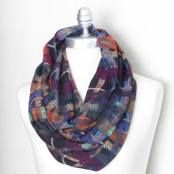 Circle Scarf, Infinity Scarf, Loop Scarf, Plaid with Peach, Mint, Plum, Orange, Black, Dark Green, Blue