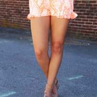 Neon Orange Snakeskin Ruffle Shorts