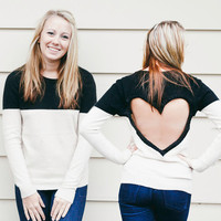 Black / Tan Heart Cut out Sweater  Upcycled Heart Sweater Back Cut Out Sweater  original heart back shirt