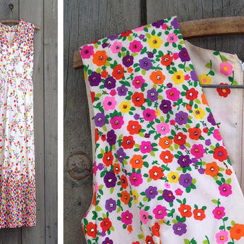 Vintage dress | Bright floral rhinestone embellished colorful 1960s/70s maxi dress