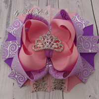Sofia the first Bow Sofia the first  Party Princess rhinestone Bow Sofia the first Costume Sofia Birthday OTT Over the Top Bow Tiara Bow