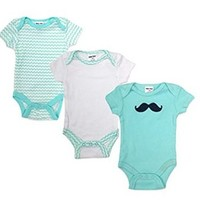 "Teeny Tots Baby Boys' ""Baby Moustache"" 3-Pack Bodysuits"