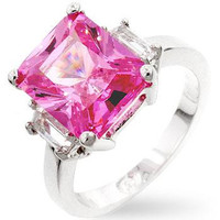 Pink Triplet Engagement Ring, size : 07