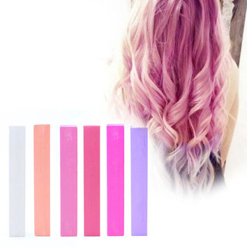 PASTEL PINK BUBBLEGUM | Pink, Salmon and Lilac set of 6 Hair Chalks for your vibrant temporary hair coloring
