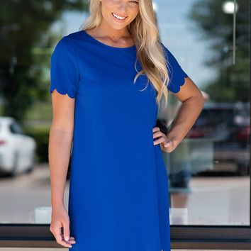 Must Be Dreaming Dress with Scalloped Sleeves/Hem: Royal