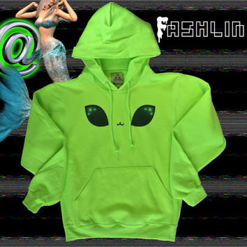 KAWAII Alien Eyes Neon Fluorescent Space Kitten Hoodie // KAWAII GRUNGE // fASHLIN
