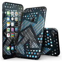 Abstract Black and Blue Overlap - 4-Piece Skin Kit for the iPhone 7 or 7 Plus