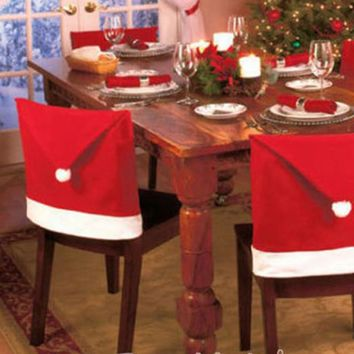 Fashion Santa Clause Red Hat Chair Back Cover home Christmas Dinner Table Party Decor For Christmas New
