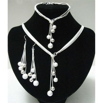 Big Sale Women's Jewelry Polished Finished Bracelets Y-shape Necklaces Drop Earrings Silver Plated Beads African Jewelry Sets