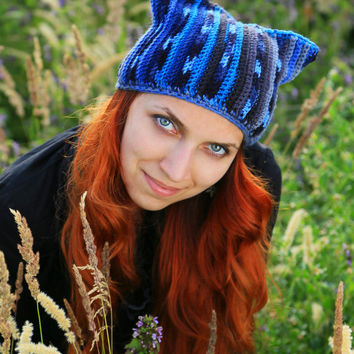 Blue Winter hat with Cat ears Knitting handmade Of thick yarn Large viscous Crochet beanie Warm soft hat Beanie gift ideas Romantic for her