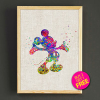 Mickey Mouse Watercolor Art Print Disney Characters Poster House Wear Wall Decor Gift Linen Print - Buy 2 Get 1 FREE - 60s2g