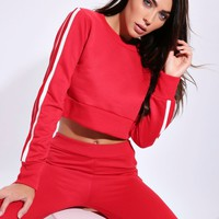 Red Side Stripe Crop Jumper Red Side Stripe Crop Jumper