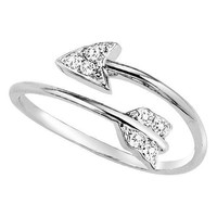 Sterling Silver Wrap Around Arrow 1/10ct Diamond Ring