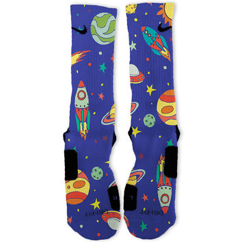 Space Galaxy Night Custom Nike Elite Socks
