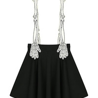 Skeleton Hand Shoulder Strap Pleat Skirt