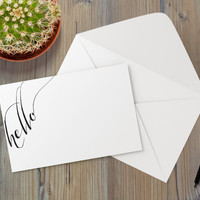 Instant Download - Hello Calligraphy Greeting Note Card Modern Typography Type Font Minimalist Holiday Occasion Thinking of You Template