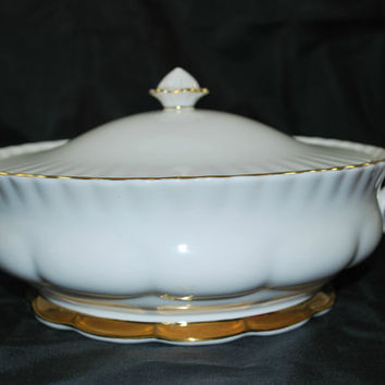 Vegetables Covered Serving Dish White and Gold Art Deco Style Royal Albert