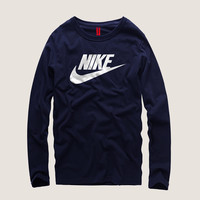"""Nike"" Men Simple Casual Letter Print Round Neck Long Sleeve Cotton T-shirt"