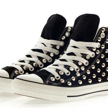 Studded Converse, Silver Studs with converse Black high top by CUSTOMDUO on ETSY