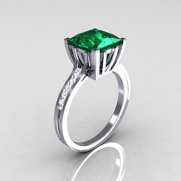 Modern Italian 14K White Gold 2.0 Carat Princess Emerald Channel Diamond Solitaire Ring R312-14KWGEMD