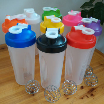 Shaker Bottle 600ml Plastic Sports Water Bottle With Leak Proof Lid Stainless Steel Ball Protein Power Shaker Cup Drinkware