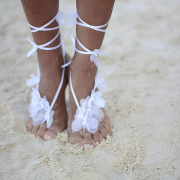 Organza Butterfly barefoot sandal, beach wedding barefoot sandal,nude shoes,bridal accessories