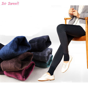 Winter Knitting Free shipping HOT SALE 2015 winter new High elastic thicken lady's Leggings warm pants skinny pants for women