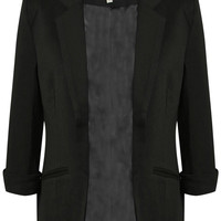 Eva Open Front Blazer in Black