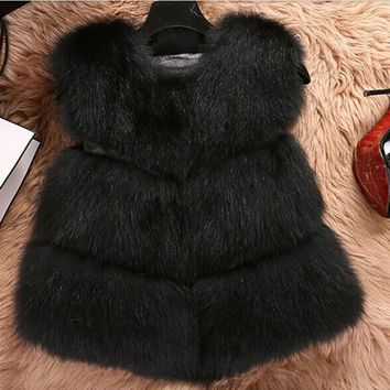 Winter Warm Women Fox Fur Vest Faux Fur Vest Jacket Mink Waistcoat Outerwear Jacket  Fur Coat