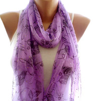 Lace scarf, purple lace scarf,scarves for women, soft scarf, cozy scarf, trendy scarf